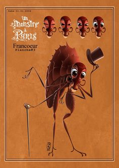 """Very early character design of Francoeur from """"A Monster in Paris"""".  Note how he is literally a giant flea and doesn't have his distinctive heart-shaped head yet!"""