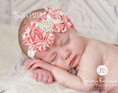 Baby Headband, baby girl headband, shabby chic headband, newborn headband,flower headband, girls headband, baby bows.