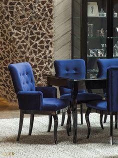 """Lubicie """"Alicję w Krainie Czarów""""? Jeśli tak, to z pewnością urzeknie Was ta linia designerskich mebli, stworzonych w estetyce modern classic. To wariacja na temat mieszczańskiego wzornictwa zagrana z wdziękiem i wyczuciem. #KLER #Canzone #Excellence #meblekler #klerdesign #klerexcellence #projektowanie #design #meble #blue #niebieski #kobalt #niebieskiehistorie #salon #jadalnia #furniture #furnituredesign #interior #interiordesign #home  #dom #quality #jakość #comfort #krzesło #chair #stół Dining Chairs, Furniture, Home Decor, Decoration Home, Room Decor, Dining Chair, Home Furnishings, Home Interior Design, Dining Table Chairs"""