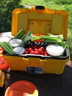 construction party appetizers - lunch box, bucket, tractor, dump truck, hard hat, cone