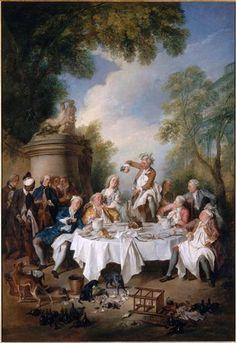 O almoço com presunto - Nicolas Lancret 1735 Musée Condé, Chantilly, França  Esta tela de 1734 foi encomendada pelo rei Louis XV ao pintor Lancret, para a sala de jantar dos pequenos apartamentos de Versalhes, que ele fez no ano seguinte. Ela fazia pendant com o almoço de ostras Jean François de Troy.  A pintura mostra uma cena de jantar aristocrática num cenário campestre. Representa um almoço no campo com presunto acompanhado de champanhe. Isso tudo acontece em um fundo com uma paisagem…