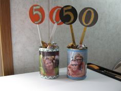 50th Birthday Party Centerpieces.  Vegetable cans & popsicle sticks.  Filled with candy.  Cheap!!