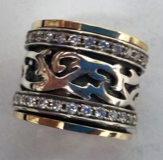 Spinner ring silver band gold rings for woman floral Israeli cz rings in all sizes by Bluenoemi on Etsy