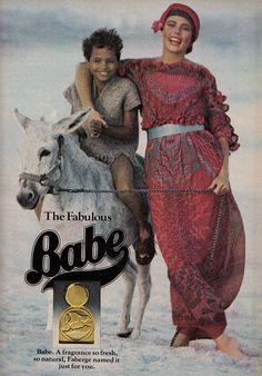 Zandra Rhodes Dress, Babe Fragrance Advertisement, Cosmopolitan - March 1977