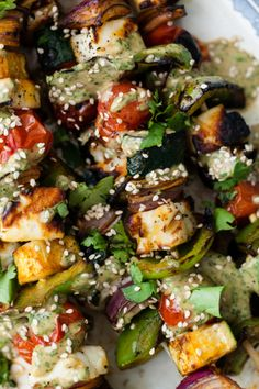 Grilled Halloumi Skewers with Cilantro-Tahini Sauce