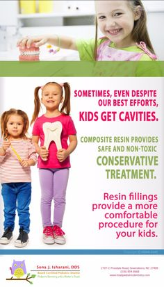 Dr. Sona helps Greensboro, NC parents with comfortable and low anxiety treatments for their children's dental visits. Call us today. 336.804.8668.  #PediatricDentistGreensboro #ToothFillings