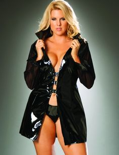 Vinyl long sleeve jacket with buckle front and mesh sleeves.