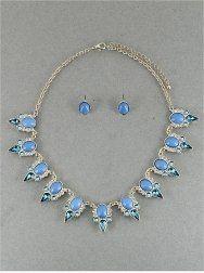 Amazon.com: Designer Inspired Blue Necklace | - Bead & Glass - Rhinestones | 16-19 Inch | Gold-blu: Jewelry