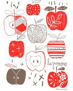 Thinking about my weekend plans. #applepicking #lapomme #jillmcdonald #pinklady #myfavorite #appleillustration #juicy