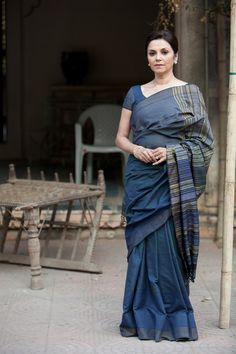 How beautiful is the indigo color of this silk sari?