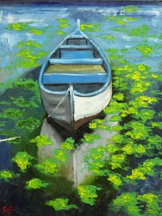 Boat oil painting by Roz