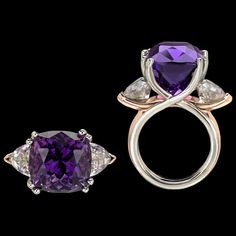 Allegre Amethyst Ring is poised and vibrant. Allegre Ring features interlacing curves of white and rose Gold with a sumptuous Amethyst cut by award-winning lapidary Stephen Avery along with two rose zircons. To purchase call Adam Neeley Fine Art Jewelry. Art Nouveau Jewelry, Jewelry Art, Fine Jewelry, Jewelry Design, Fantasy Jewelry, Designer Jewelry, Fashion Jewelry, Rose Gold Jewelry, Purple Jewelry