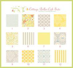 Custom Baby Bedding Crib Set - Taza Yellow, Grey -  Bumpers, Skirt, Sheet, Design Your Own. $365.00, via Etsy.
