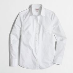 J.Crew Stretch classic button-down shirt ($27) ❤ liked on Polyvore featuring tops, blouses, shirt top, long sleeve cotton shirts, button down shirt, long sleeve tops and long sleeve button up shirts