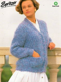 "ladies chunky fishermans rib cardigan knitting pattern PDF bukly womens ribbed v neck jacket 32-40"" chunky bulky 12ply Instant Download by Hobohooks on Etsy"