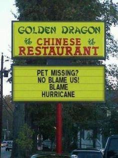 No Blame Us! Blame Hurricane. LMAO