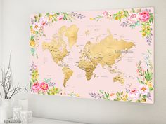 "36x24"" World map canvas print or push pin map, floral world map canvas, gold world map with states, watercolor flowers map.  Map057 006"