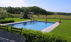 rectangle pool, limited concrete, grass