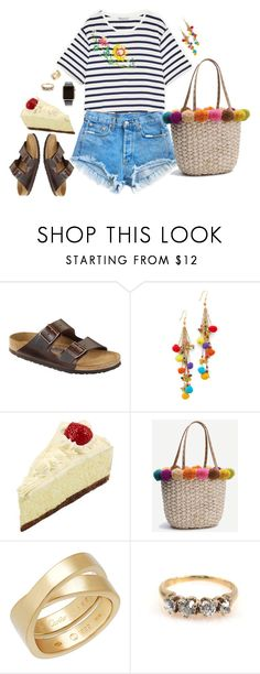 """""""Cheesecake Factory with Kat"""" by walzfashion ❤ liked on Polyvore featuring Levi's, Birkenstock, Rosantica, Cartier and Hadoro"""