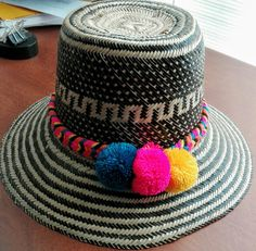 stephanie beitia · Ideas · Black and White Wayuu Hat with multicolor  Pompons. www.thesuncollection.com Sombreros 68c7eb1a93e