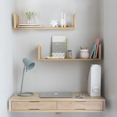 Home of the Floating Bedside Table by Urbansize Oak Shelves, Wooden Shelves, Floating Drawer, Floating Shelves, Furniture For Small Spaces, Home Office Furniture, Room Ideas Bedroom, Room Decor, Oak Desk