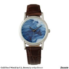 Cold Fire I classic brown leather watch designed by Artist C.L. Brown.