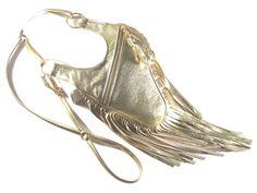 Revolver bag gold metallic Ledertasche Fransen von AnnaBelleBags
