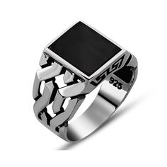 square-modern-onyx-ring #black #friday