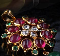 Truely Exotic Pendant with Polki Diamonds, Rubies and Emeralds