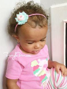 Iced Donut Headband Petite Shabby Rose Headband Baby by MylaMoos