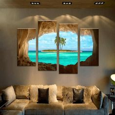 4 Pieces Multi Panel Modern Home Decor Framed Cave Island Seascape Wall Canvas Art - Octo Treasures - 2 basic home decor Unique Home Decor, Diy Home Decor, Creative Decor, Images Murales, Modern Style Homes, Decorating With Pictures, Decoration Pictures, Living Room Pictures, Wall Pictures