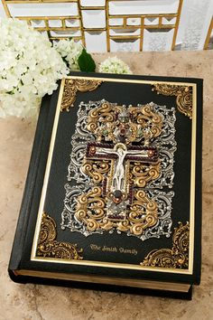 Jeweled Garnet Crucifix Family Bible RSV Catholic