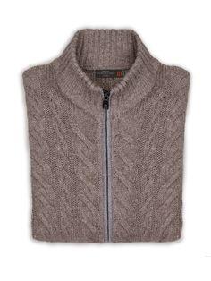Cable pattern #jumper with zip in alpaca, silk and yak. #Corneliani #FW16 #accessories