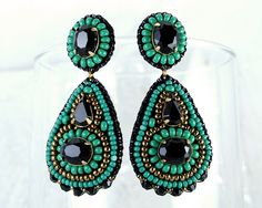 Gold turquoise green black chandelier earrings statement jewelry green black gold dangly earrings - bridal cocktail jewelry unique gift