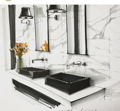 Best bathroom interior design sketch ideasYou can find Interior sketch and more on our website. Interior Architecture Drawing, Interior Design Renderings, Drawing Interior, Interior Rendering, Interior Sketch, Architecture Portfolio, Modern Architecture, Bathroom Interior Design, Modern Interior