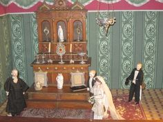 SPECTACULAR Museum Miniature Antique German Altar, Liturgical Objects, Bridal Party!!