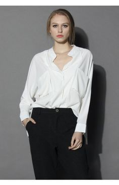 Neutral Batwing Crepe Shirt in White - Tops - Retro, Indie and Unique Fashion