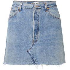 RE/DONE + Levi's distressed denim mini skirt (20.385 RUB) ❤ liked on Polyvore featuring skirts, mini skirts, distressed denim mini skirt, vintage style skirts, short blue skirt, mini skirt and distressed denim skirt