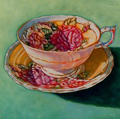 Rose Teacup by Margaret Horvat Oil ~ 10 inches x 10 inches