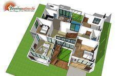แบบบ้านโมเดิร์นชั้นครึ่ง 3 ห้องนอน 2 ห้องน้ำ สวยทันสมัย อบอุ่นน่าอยู่ - ที่นี่มีสาระ Beautiful House Plans, Beautiful Homes, Model House Plan, Architectural House Plans, Rest House, Facade House, Architecture Design, Floor Plans, Exterior