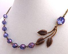 Brown & Purple Illusion Floating Bridesmaid Necklace by bonitaj