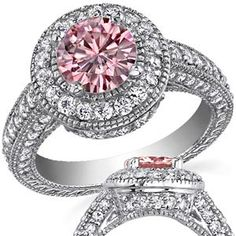 Pink Round Moissanite Antique Engagement Ring