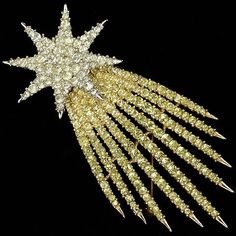 Trifari 'Alfred Philippe' 'Fireworks' Citrine and Diamante Shooting Star Pin