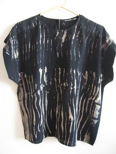 shibori no. 2 black silk shirt discharged with Jacquard discharge paste dried, then steam ironedblack silk shirt discharged with Jacquard discharge paste dried, then steam ironed