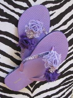 Love Purple bling Flip flops