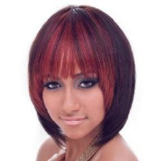 Trendy Full Bang Straight Synthetic Medium Ombre Color Women's Wig #women, #men, #hats, #watches, #belts, #fashion
