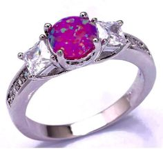 Silver Pink Fire Opal Ring - Stamped 925 Sterling Silver by PsychicSpiritReading on Etsy
