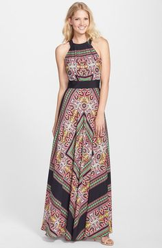 Free shipping and returns on Eliza J Scarf Print Crêpe de Chine Maxi Dress at Nordstrom.com. A boho-inspired scarf print brightens this flowy A-line maxi featuring a cutaway bodice and a figure-flattering inset waistband. On the reverse, the neckline ties into a lovely cascading bow for an elegant finish.