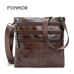 FONMOR Brand 100% Genuine leather men bag Fashion men small shoulder  crossbody bags Thin design 19bed0141a6cf