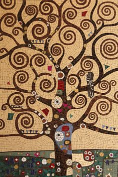 Tree Of Life Klimt Trees Tree of life klimt , tree of life artwork, tree of life tatto Mosaic Wall, Mosaic Glass, Mosaic Tiles, Glass Art, Stained Glass, Tree Of Life Artwork, Tree Of Life Painting, Tree Art, Mosaic Crafts
